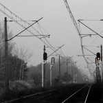 2 grudnia 2012 | Widok na linię nr 395 łączącą Kiekrz z Zielińcem. Widok w kierunku zlikwidowanego w 2010 roku posterunku Naramowice.