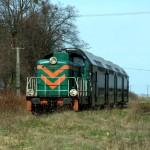 """17 kwietnia 2010 - Mirakowo   Pociąg specjalny """"Wokół doliny Drwęcy""""na stacji Mirakowo."""